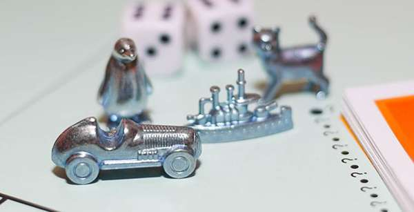 Photo of Monopoly game board pieces
