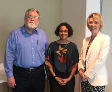 Photo of Aditi Patel, Ph.D., with HOBI faculty advisers