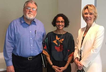 Photo of Aditi Patel, Ph.D., with HOBI faculty advisers