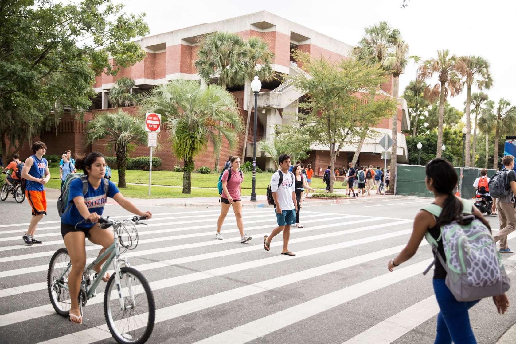 Students use crosswalk on campus